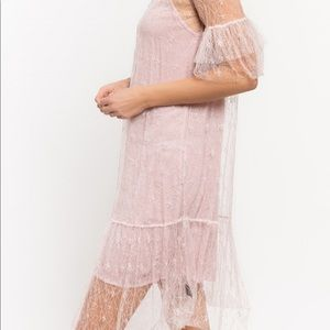 Two piece thin mesh dress with tulle trim n slip